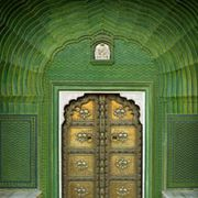 Green, Property, Wall, Ceiling, Arch, Pattern, Tan, Rectangle, Symmetry, Brass,