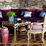 Room, Furniture, Interior design, Living room, Couch, Purple, Table, Home, Interior design, Pillow,