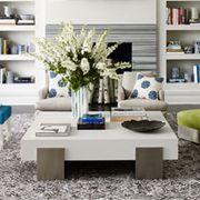 Blue, Room, Interior design, Living room, Green, Home, Furniture, Property, Table, Floor,