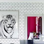 Bathroom sink, Architecture, Property, Room, Wall, Bengal tiger, Interior design, Plumbing fixture, Big cats, Siberian tiger,