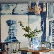 Blue, Room, Interior design, Textile, Photograph, Table, White, Wall, Furniture, Ceiling,