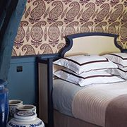 Blue, Room, Bed, Property, Interior design, Textile, Wall, Bedroom, Serveware, Linens,