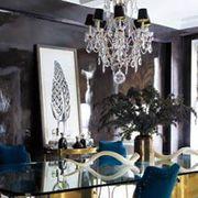 Blue, Room, Interior design, Property, Ceiling fixture, White, Ceiling, Wall, Chandelier, Interior design,