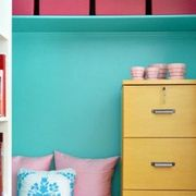Green, Blue, Yellow, Room, Property, Shelving, Chest of drawers, Shelf, Interior design, Wall,