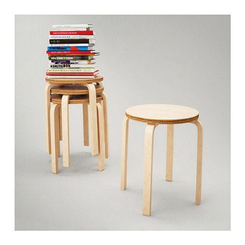 <p>Éste es el taburete <i>Frosta,</i> de Ikea. Está basado en el modelo <i>60,</i> de Alvar Aalto y cuesta 9,99 €.</p>