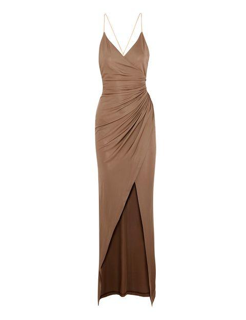 <p>Vestido drapeado en color dorado (1.755 €), de Balmain para Net-A-Porter.</p>