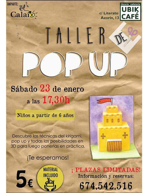 """<p>El Ubik Café (C/Literato Azorín, 13, Valencia) acoge este sábado por la tarde un divertido taller de 'pop up' editorial para padres y niños a partir de 6 años. El taller estará a cargo de <a href=""""http://www.facebook.com/elcalaix.cultura"""" target=""""_blank"""">El Calaix,</a> y empezará enseñando a todos el origen y la historia de la 'ingeniería' del papel, para adentrarse en técnicas de kirigami, 'pop up' y 3D. Al final, los participantes podrán poner en práctica lo aprendido y hacer su propio libro o tarjeta 'pop up'. Por 5 euros, material incluido.</p>"""