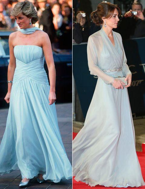 <p>En 1987 Diana acudió al festival de Cannes con este vestido palabra de honor drapeado en azul de <strong>Catherine Walker</strong>. En 2015 Kate apostaba por un estilo similar con este vaporoso diseño de de <strong>Jenny Packham</strong> para la premiere mundial de la película de 007 'Spectre'.&nbsp;</p>