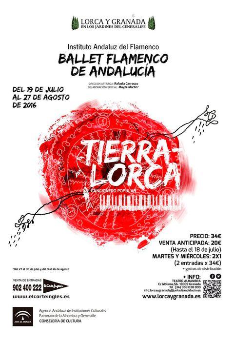 """<p>Hasta el 27 de agosto, el Ballet Flamenco de Andalucía representa <a href=""""http://www.juntadeandalucia.es/cultura/bfa/tierra-lorca-cancionero-popular/"""" target=""""_blank""""><strong>'Tierra-Lorca. Cancionero popular'</strong></a>en los Jardines del Generalife y otros espacios emblemáticos de la ciudad. La propuesta está inspirada en el 'Cancionero popular' de Federico García-Lorca y, con la coreografía preparada por Rafaela Carrasco, quiere transmitir el sentir del granadino más universal y las hondas raíces del folklore español con alguno de los sones más espectaculares del flamenco. Entradas: 34 euros.</p><p></p>"""