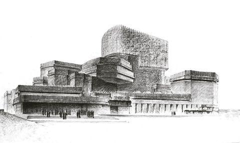 <p>Perspectiva a mano alzada en lápiz sobre papel de la Ópera de Madrid (1962).</p>