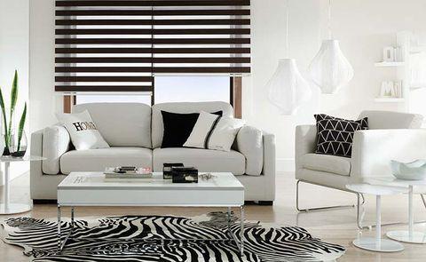 <p>En este salón, de mobiliario y aires contemporáneos, se ha apostado por el blanco y negro. Se ha sustituido la alfombra tradicional por una que imita la piel de tigre y se han cambiado las cortinas por estores.</p>