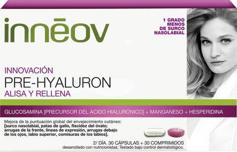 """<p>El <strong>ácido hialurónico</strong> es una sustancia presente en el cuerpo de manera natural en zonas como el globo ocular y los cartílagos. Su principal capacidad es la de retener grandes cantidades de agua, lo que permite hidratar la piel en profundidad. Puedes añadir el ácido hialurónico a tu rutina a través de una crema que lo contenga, pero también ha demostrado sus <a href=""""http://www.ncbi.nlm.nih.gov/pmc/articles/PMC4110621/"""" target=""""_blank"""">resultados positivos</a> cuando se ingiere. Las patatas, el plátano y la carne son alimentos con un alto nivel de esta sustancia.</p><p>'Pre Hyaluron', suplemento de ácido hialurónico de <strong>Innéov</strong>.</p>"""