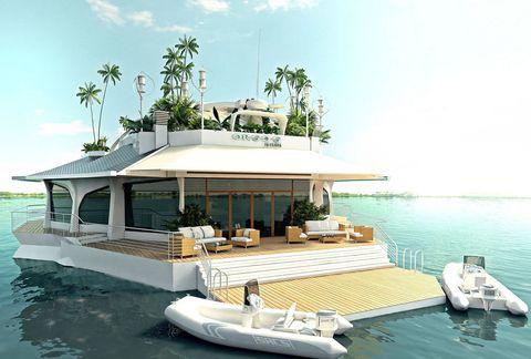 <p>La isla no puede navegar por sí misma, pero sí puede ser remolcada y colocada a gusto del cliente. Para algo para más de 3,5 millones de euros.</p>