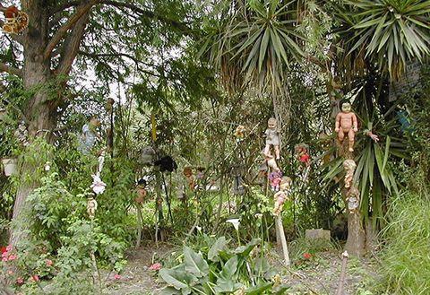 <p>Los que les tengan miedo a las muñecas algo tétricas es mejor que no visiten Xochimilco (México) y su Isla de las muñecas. Julián Santana Barrera fue quien se encargó de llenar este lugar con cuerpos y partes de muñecas tras encontrar (según él) el cadáver de una niña e intentar repeler a los malos espíritus.</p>