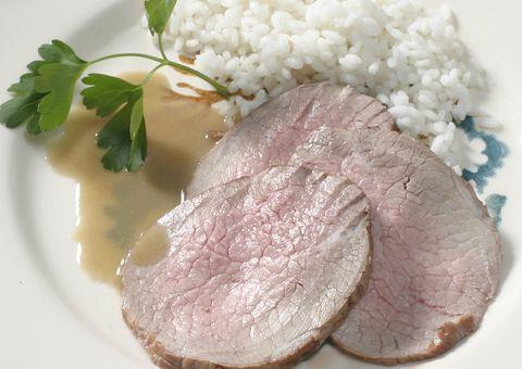 Food, Ingredient, Animal product, Garnish, Rice, Meat, Dishware, Beef, Steamed rice, Jasmine rice,