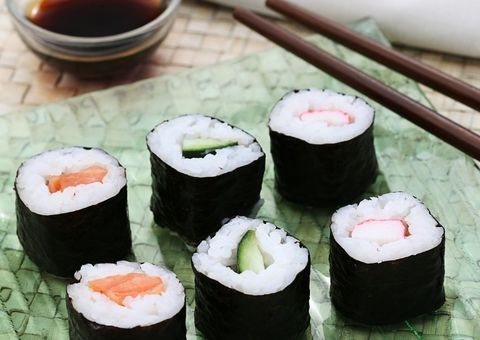 Food, Cuisine, Sushi, Rice, Ingredient, Gimbap, Dish, White rice, Steamed rice, Recipe,
