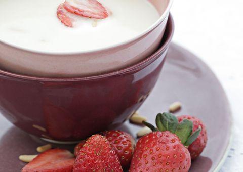 Serveware, Food, Dishware, Sweetness, Fruit, Natural foods, Strawberry, Drinkware, Coffee cup, Ingredient,