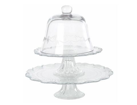 <p>Soporte para tartas (12 €) y campana de cristal (19 €). </p>