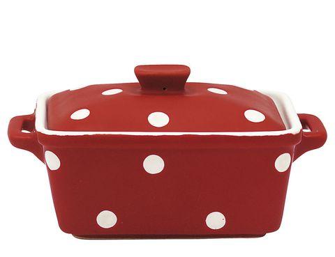 <p>Topos blancos sobre rojo para la terrina de Greengate, 15 €.</p>