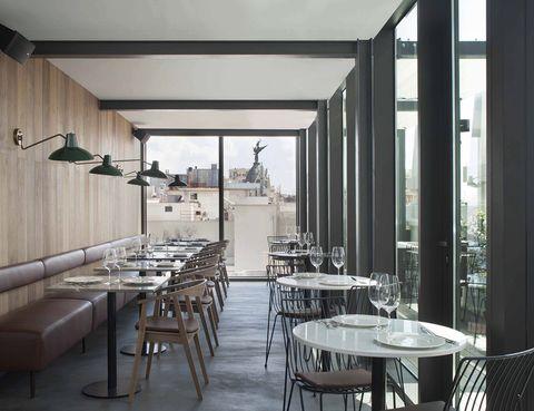 <p>El bistró del hotel Dear, en la planta 14, lo tiene todo: espectaculares vistas de 360 grados, una atractiva e imaginativa cocina (prueba las gyozas de carrillera estofada), un lounge para tomar cócteles y picar algo, un estilo sobrio y elegante y horario non stop.</p><p><strong>Gran Vía, 80, Madrid, tel. 638 90 85 59. Precio medio: 35 €.</strong></p>
