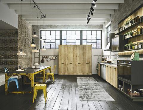 <p>En la cocina <i>Loft</i>, de Snaidero, metal y madera envejecidos crean una atmósfera única.&nbsp;</p>