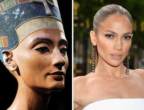 <p>Pómulos marcados, ojos rasgados, nariz pequeña, labios carnosos y una figura esbelta que se equilibraba con una cintura fina. Eso triunfaba en Egipto, en un lugar y una época en los que la exaltación de la belleza era prioritaria. No olvidemos que las primeras cirugías se realizaron entre pirámides... <strong>Nefertiti</strong> y <strong>Jennifer Lopez</strong> podrían ser, perfectamente, hermanas.</p>