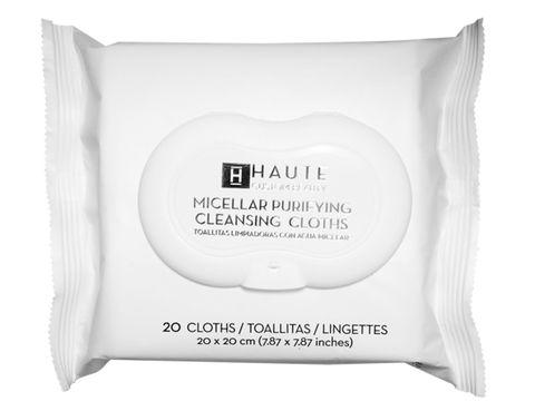 """<p>Si usas este tipo de formato, asegúrate de que el tejido respete tu piel. Limpia, hidrata y suaviza lejos de casa con las de<a href=""""https://www.hautecustombeauty.es/products/copy-of-micellar-purifying-cloths-10"""" target=""""_blank"""">Haute Custom Beauty</a> (14 €).</p><p>Con extracto de flor de Loto, Vitaminas y agua micelar.</p>"""