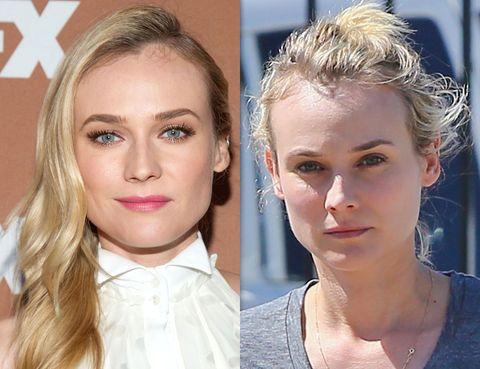 <p>La bella <strong>Diane Kruger</strong> no necesita muchos cambios para pasar de un rostro natural a un look espectacular. Aun así, un toque de máscara y unas cejas perfiladas le cambian el rostro a mejor.</p>