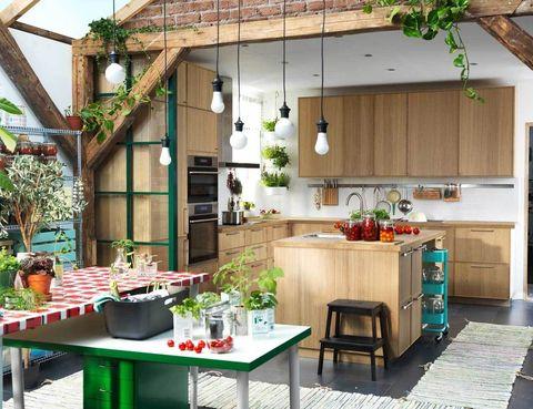 <p> ¡Que no falten las plantas! Aquí se convierten en un elemento esencial, que acompaña a la cocina <i>Metod,</i> con puertas y frentes de cajón de roble, mod. <i>Ekestad,</i> y cajones <i>Maximera</i><br /> que cierran suavemente. Todo de Ikea.</p><p>&nbsp;</p>