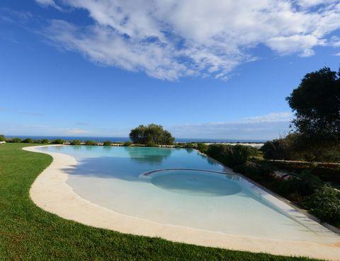 <p>Lo parece, pero es la piscina principal, con vistas al campo y al mar. Está construida a ras de suelo para lograr una perfecta fusión con la naturaleza.</p>