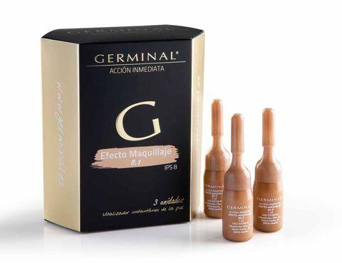 <p>'Germinal Acción Inmediata Efecto Maquillaje', base 'oil free' con efecto tensor y color. Borra la fatiga del rostro durante al menos ocho horas. De <strong>Germinal</strong> (13,75 €).</p>