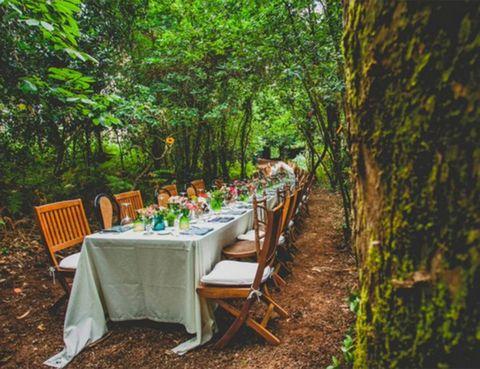 """<p>Es increíblemente mágico celebrar un banquete <strong>bajo estas ramas de helechos y eucaliptos</strong> que encontramos en el <strong><a href=""""http://www.pazosergude.com/"""" target=""""_blank"""">Pazo de Sergude</a></strong> (A Coruña). Situado en una finca amurallada y rodeado de un <strong>frondoso bosque y un jardín espectacular</strong> se levanta este pazo, que cuenta con todos los elementos de la construcción tradicional gallega de su época: un gran hórreo de granito, un palomar y la &quot;Casa do Forno&quot; donde en tiempos se hacía diariamente el pan. Un sitio dónde crear recuerdos únicos en medio de la naturaleza.</p><p>&nbsp;</p><p>(Foto: El Sofá Amarillo).</p>"""