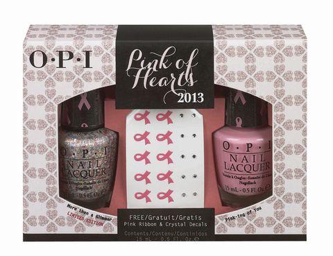 <p>'Pink Of Hearts' (25 €), de <strong>OPI</strong>. Dúo de lacas de uñas y pegatinas para <i>nail art</i>en apoyo a la investigación del cáncer de mama.</p>