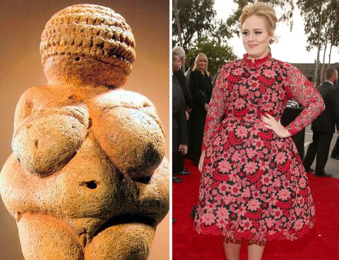 <p>Nos queda lejos por tiempo... y por moda, pero ¿quién dijo miedo a las curvas? La<strong> 'Venus de Willendorf'</strong> nos da una idea de dónde viene la palabra 'hermosura': en la Prehistoria una mujer rolliza era una estrella por su gran feminidad y su capacidad de procrear, entre otras cosas. La cantante <strong>Adele,</strong> con toda su belleza, seguro que hubiera roto más de un corazón de piedra.</p>