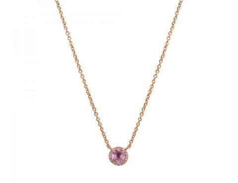 <p>Collar de piedra redonda&nbsp; con orla de diamantes en oro rosa. (159 €).</p>