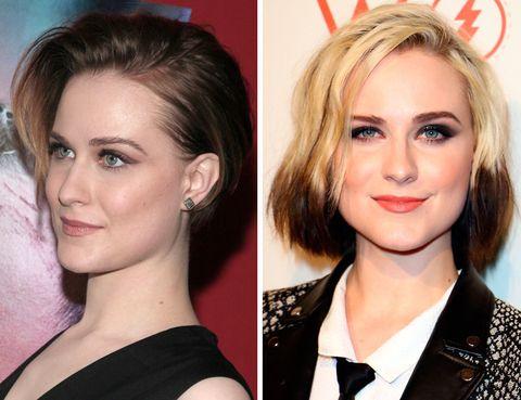 <p>Ella no se ha cambiado el largo de pelo per sí el color... De cualquier forma, el duotono rubio-moreno de <strong>Evan Rachel Wood</strong> no resulta demasiado favorecedor.</p>