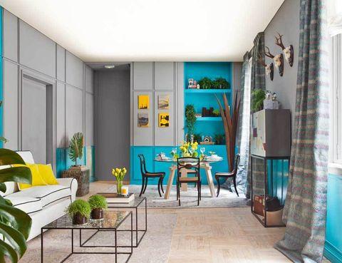 """<p>Un salón en vibrantes turquesa y amarillos es el espacio """"Happiness""""de Jaime de Pablo-Romero, de Ynot? </p>"""