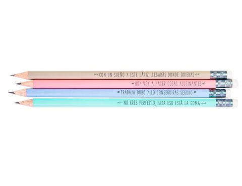 """<p>Fichamos los mensajes 'top' de los cuatro lápices de este pack de <a href=""""http://www.mrwonderfulshop.es/es/set-de-4-lapices-bonitos-con-mensajes.html"""" target=""""_blank"""">Mr. Wonderful</a> (8,50 €): """"Con un sueño y este lápiz llegarás donde quieras"""".</p>"""