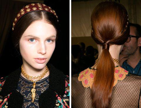 <p>Un estilismo similar, pero incluyendo una diadema al más puro estilo medieval, lo propone <strong>Valentino</strong>. ¡Nos encanta!</p>