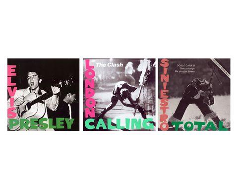 """<p>La de The Clash y la de Siniestro Total son solo dos de las portadas que han copiado descaradamente la sencilla idea del primer disco de Elvis Presley, publicado en 1956 y titulado con su mismo nombre. La fotografía fue tomada por William V. """"Red"""" Robertson en Fort Homer Hesterly Armory, un edificio de Florida en el que se realizaban conciertos. La portada es un encuadre cerrado de la imagen completa y muestra con nitidez la fuerza y lo revolucionario de lo que estaba por llegar: el rock personificado en un joven de 20 años. El color fluorescente de la tipografía, muy de la época, completa una de las primeras gran 'album covers' de la historia.</p>«/><figcaption> <br>Elvis Presley, 1956<br>La de The Clash y la de Siniestro Total son solo dos de las portadas que han copiado descaradamente la sencilla idea del primer disco de Elvis Presley, publicado en 1956 y titulado con su mismo nombre. La fotografía fue tomada por William V. «Red» Robertson en Fort Homer Hesterly Armory, un edificio de Florida en el que se realizaban conciertos. La portada es un encuadre cerrado de la imagen completa y muestra con nitidez la fuerza y lo revolucionario de lo que estaba por llegar: el rock personificado en un joven de 20 años. El color fluorescente de la tipografía, muy de la época, completa una de las primeras gran 'album covers' de la historia. </figcaption></figure>    <p> </p>    <figure class="""