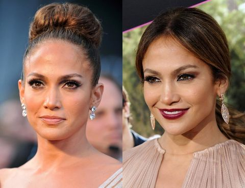 <p>Con labios <i>nude</i> o borgoña, <strong>Jennifer Lopez</strong> borda estos dos estilismos de alfombra roja. Ella opta por la discrección cuando luce un peinado elaborado y apuesta todo al maquillaje con un peinado más informal. Eso sí, la actriz siempre apuesta por las pestañas XXL. Toma nota de su tono de labios si tienes la piel media como ella: no puede quedarle mejor. &nbsp;</p>