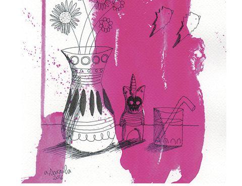 Ilustración Pink Kitchen de Aitor Sarabia