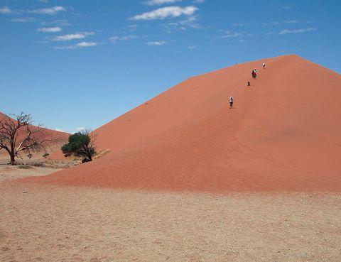 <p>En el desierto de Namib, en Namibia, encontramos un tesoro africano en forma de las dunas más altas del mundo, con hasta 300 metros de altura. Todas están numeradas, pero nosotros nos quedamos con la 45 que es la más fotogénica de todas. Se puede subir fácilmente y las fotos antes del amanecer son inigualables.</p>