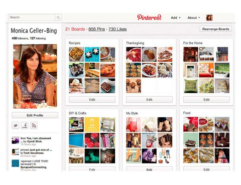 <p>Obesionada con el orden, al decoración y la cocina, <strong>Mónica Geller</strong> pasa las tardees organizando sus tableros de Pinterest y, ocasionalmente, criticando y queriendo ordenar los de los demás.</p>