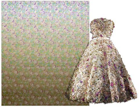 """<p>La artista china Liang Yuanwei ha pintado un óleo con motivos florales que recrea el vestido """"Miss Dior"""", creado en 1949 por Christian Dior para acompañar la fragancia.</p>"""