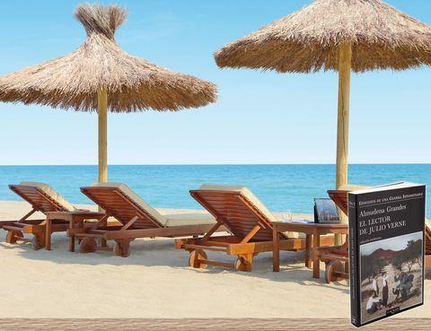 """<p> <strong>TARRAGONA</strong><br /> <strong>Libro:</strong> El lector de Julio Verne, de la escritora Almudena Grandes (Tusquets).<br /> <strong>Dónde:</strong> Frente al mar, en el Hotel Le Méridien Ra Beach Hotel & Spa (El Vendrell). <a href=""""http://www.lemeridienra.es"""" target=""""_blank"""">www.lemeridienra.es</a>. <br />«A pie de playa y con un lujoso 'spa' de La Prairie esperándote. ¡Qué más se puede pedir para desconectar!».</p>"""