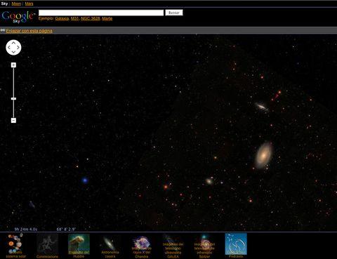 """<p>Entrando en <a href=""""http://www.google.es/intl/es_es/sky/"""" target=""""_blank"""">Google Sky</a> puedes deleitarte viendo estrellas, imágenes del Hubble, recorrer las rutas de los astronautas en la luna o incluso ver la superficie de Marte. Una pasada.</p>"""