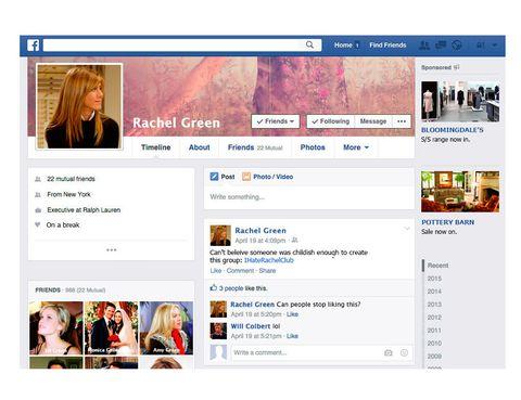 <p>Obviamente <strong>Rachel</strong>&nbsp;sería el terror de<strong> Facebook</strong>. Miles de amigos, continuos cambios de 'soltera' a 'en una relación', por no hablar de las veces que dejaría de ser 'amiga' de Ross de manera pública.&nbsp;</p>