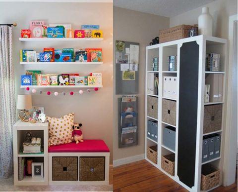 """<p>También en <a href=""""http://www.joliplace.com/"""" target=""""_blank"""">Joli Place</a> hemos fichado estas ideas para conseguir la segunda (y la tercera) vida de tu estantería modular. En un dormitorio infantil, a modo de cómodo asiento para sus lecturas o colocadas con un tablero de pizarra y cajones, como si fuera un armario diferente y muy práctico.&nbsp&#x3B;</p><p>&nbsp&#x3B;</p>"""