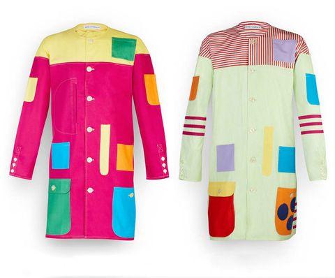 <p>Los coloristas delantales-batas de trabajo &quot&#x3B;Grembiule&quot&#x3B;, diseñados por Castiglioni y Max Huber , con un bolsillo diferente color de para cada instrumento de trabajo.</p>